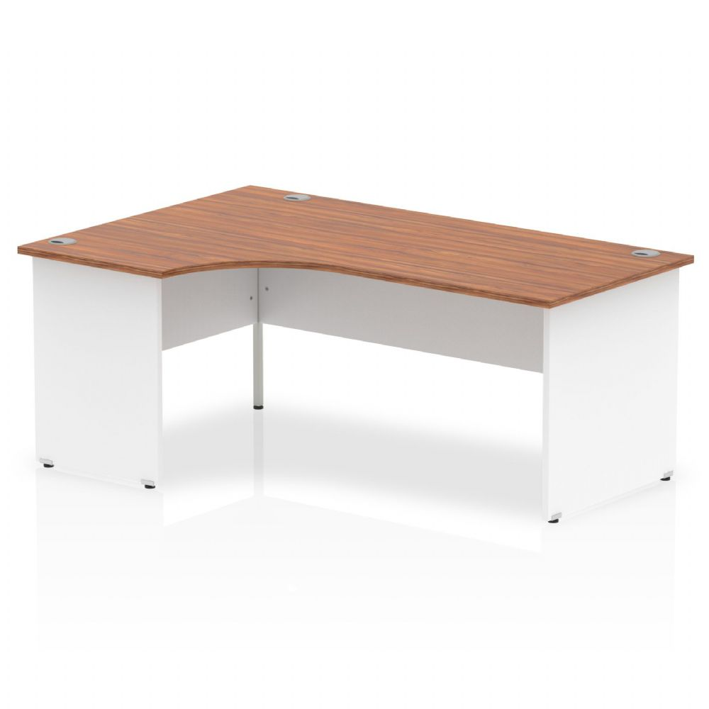 1800mm|Left Hand Crescent Desk|White Panel End|Beech, Maple, Oak & Light Walnut Finish